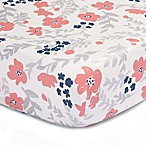 The Peanut Shell® Floral Fitted Crib Sheet in Coral