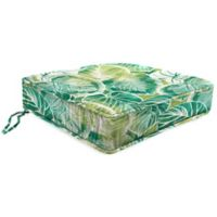 Outdoor Boxed Edge Seat Cushion in Keycove Lagoon