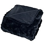 Nottingham Home Faux Fur Throw Blanket in Black