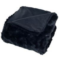 Nottingham Home Faux Fur Throw Blanket in Black