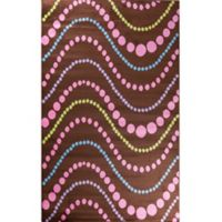 Concord Global Alisa Wave Dots 2-Foot 7-Inch x 4-Foot 1-Inch Accent Rug in Brown