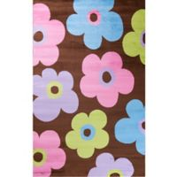 Concord Global Alisa Ditsy Flowers 3-Foot 4-Inch x 5-Foot Accent Rug in Brown