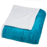 Nottingham Home Floral Etched Fleece Twin Blanket in Teal