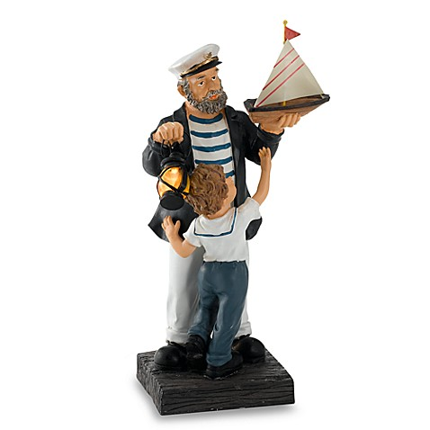 Sea Captain With Child Lantern And Boat Solar Garden