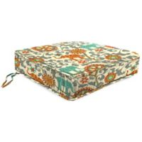 Outdoor Boxed Edge Seat Cushion in Menagerie Cayenne