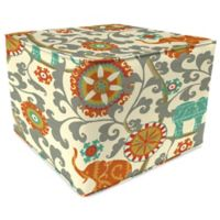 Outdoor 20-Inch Square Pouf in Menagerie Cayenne