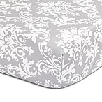 The Peanut Shell® Damask Fitted Crib Sheet in Grey