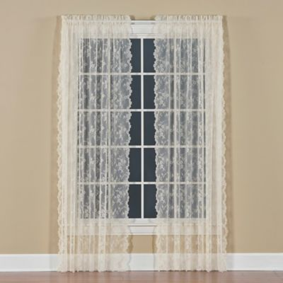 Petite Fleur 84 Inch Rod Pocket Window Curtain Panel In Ivory