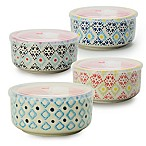 Signature Housewares Printed 6-Inch Microwave Storage Bowls (Set of 4)