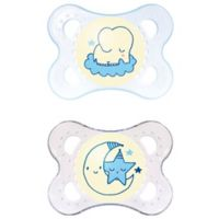 MAM Night Age 0-6 Months Glow-in-the-Dark Pacifier in Blue (2-Pack)
