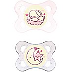 Mam 2 Pack Mam Night Pacifier, Pink, 0-6 Months, 2 Pack Pink