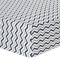 Trend Lab® Chevron Flannel Fitted Crib Sheet in Navy and Grey