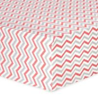 Trend Lab® Chevron Flannel Fitted Crib Sheet in Coral and Grey