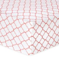 Trend Lab® Quatrefoil Flannel Fitted Crib Sheet in Coral