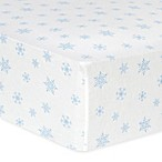 Trend Lab® Snowflake Flannel Fitted Crib Sheet in Blue