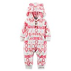 carter's® Newborn Aztec Style Print Fleece Hoodie Coverall in Pink/Teal
