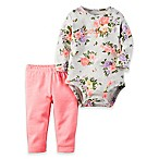 carter's® Size 3M 2-Piece  Perfect  Floral Bodysuit and Legging Set in Grey/Pink