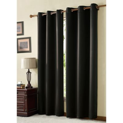 VCNY McKenzie Juvi 84 Inch Room Darkening Grommet Top Window Curtain Panel  In Black