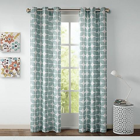 Intelligent Design Lita Grommet Top Window Curtain Panel Pair In Grey White