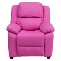 Flash Furniture Vinyl Kids Recliner with Storage Arms in Hot Pink