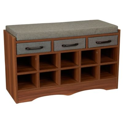 household essentials entryway shoe storage bench