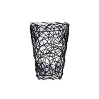 White Shade and Black Wicker Amber Flicker Wall Sconce