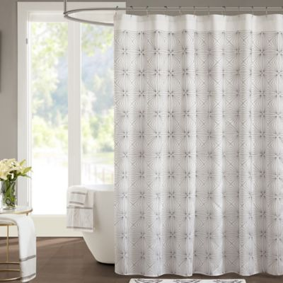 buy wamsutta baratta stitch 54 inch x 78 inch stall shower curtain in white charcoal from bed. Black Bedroom Furniture Sets. Home Design Ideas