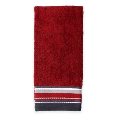 Evan Stripe Hand Towel in Burgundy