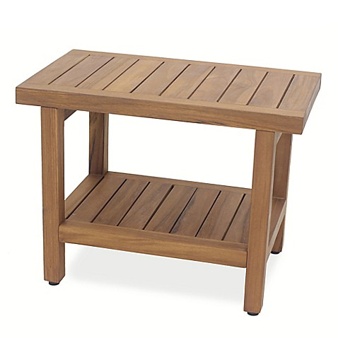 Teak Wood Oversized Shower Bench With Shelf Bed Bath