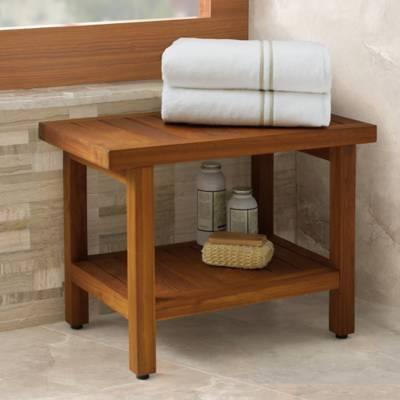 Teak Wood Oversized Shower Bench with Shelf - Bed Bath & Beyond