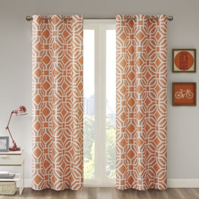 Captivating Intelligent Design™ Maci 63 Inch Room Darkening Grommet Top Window Curtain  Panel In Orange