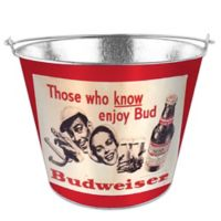 Budweiser Retro 5 Qt. Metal Bucket in Red
