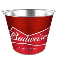 Budweiser 5 Qt. Metal Bucket in Red