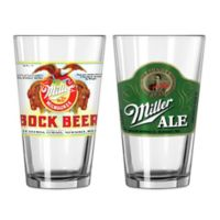Miller Retro Ale and Bock Beer Pint Glasses (Set of 2)