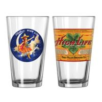 Miller High Life Retro Girl on the Moon and High Life Dry Pint Glasses (Set of 2)