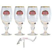 Stella Artois 11 oz. Chalice Glass with Bottle Opener (Set of 4)