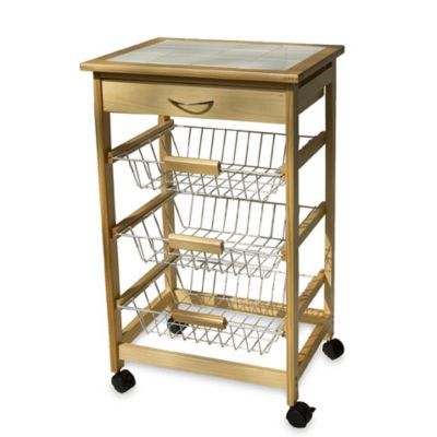 Rolling Kitchen Cart with Three Baskets