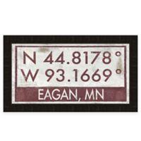 "Retro Style Framed ""Eagan"" Map Coordinates Sign"