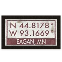 "Retro Style Framed ""Eagan"" Map Coordinates Sign"