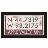 "Retro Style Framed ""Apple Valley"" Map Coordinates Sign"