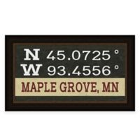 "Retro Style Framed ""Maple Grove"" Map Coordinates Sign"