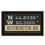 "Retro Style Framed ""Bloomington"" Map Coordinates Sign"