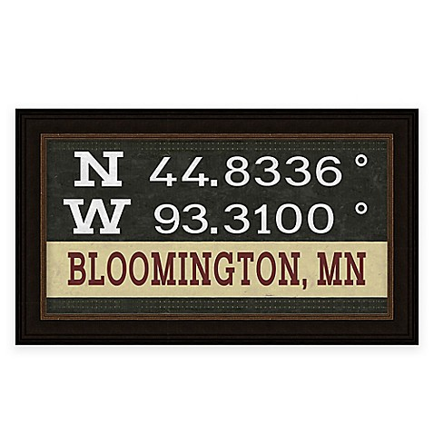 Retro Style Framed Bloomington Map Coordinates Sign Bed Bath Beyond