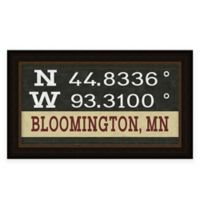 """Retro Style Framed """"Bloomington"""" Map Coordinates Sign"""