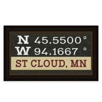 "Retro Style Framed ""St. Cloud"" Map Coordinates Sign"