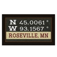 "Retro Style Framed ""Roseville"" Map Coordinates Sign"