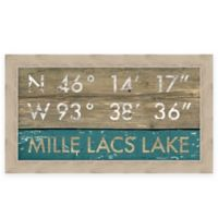 """Retro Style Framed """"Mille Lacs Lake"""" Map Coordinates Sign"""