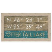 """Retro Style Framed """"Otter Tail Lake"""" Map Coordinates Sign"""