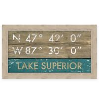 "Retro Style Framed ""Lake Superior"" Map Coordinates Sign"
