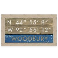 "Retro Style Framed ""Woodbury"" Map Coordinates Sign"